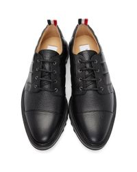Thom Browne - Black Quilted Toe Cap Brogues for Men - Lyst