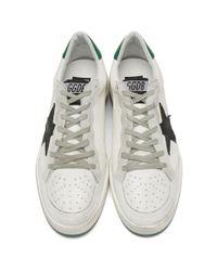 Golden Goose Deluxe Brand White And Green Crack Ball Star Sneakers for men