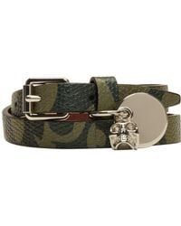 Alexander McQueen - Green Camo Skull Charm Double Wrap Bracelet for Men - Lyst