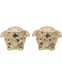 Versace - Metallic Gold Medusa Stud Earrings - Lyst