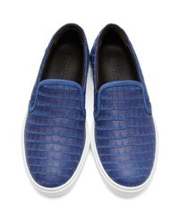 Jimmy Choo | Blue Croc-embossed Grove Slip-on Sneakers for Men | Lyst