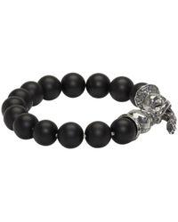 Emanuele Bicocchi - Metallic Silver And Black Beaded Stone Bracelet for Men - Lyst