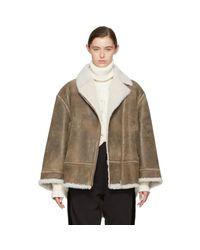 MM6 by Maison Martin Margiela Brown Vintage Shearling Jacket
