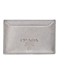 Prada - Metallic Silver Saffiano Single Card Holder - Lyst