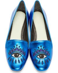 KENZO - Blue Metallic Leather Embroidered Eye Slippers - Lyst