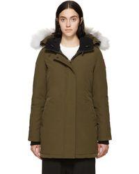 Canada Goose   Black Victoria Fur-hood Parka Jacket   Lyst
