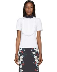 Erdem | White & Navy Ruffled Deacon Top | Lyst