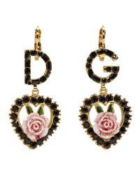 Dolce & Gabbana - Black Dg Heart Earrings - Lyst