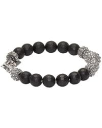 Emanuele Bicocchi - Metallic Silver & Black Beaded Bracelet for Men - Lyst