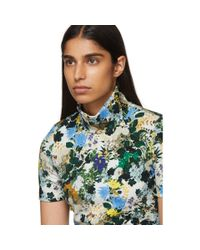 Erdem - Blue Multicolor Floral Sallie Turtleneck - Lyst