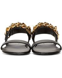 Giuseppe Zanotti - Black And Gold Chain Sandals - Lyst