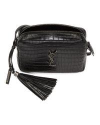 Saint Laurent - Black Lou Monogramme Satchel Bag - Lyst