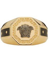 Versace - Metallic Gold & Black Medusa Ring for Men - Lyst