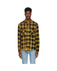 Amiri - Yellow Tie Dye Blotch Plaid Shirt for Men - Lyst