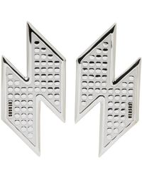 Versus  | Metallic Silver Lightning Bolt Earrings | Lyst
