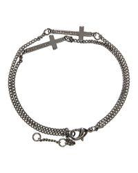 DSquared² - Metallic Gunmetal Double Cross Bracelet for Men - Lyst