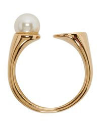 Chloé - Metallic Gold And Pearl Small Darcey Ring - Lyst