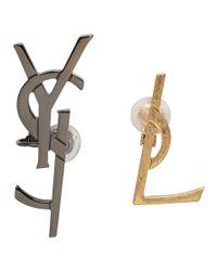 Saint Laurent - Black Gold And Gunmetal Deconstructed Monogram Earrings - Lyst