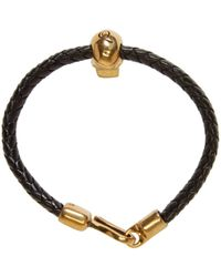 Alexander McQueen - Black And Gold Braided Leather Skull Bracelet - Lyst