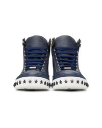 Jimmy Choo - Blue Navy Star Sole Argyle High-top Sneakers for Men - Lyst