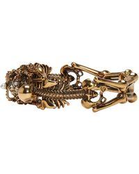Alexander McQueen - Metallic Gold Two Skeletons Bracelet - Lyst