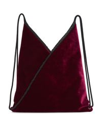 MM6 by Maison Martin Margiela - Red Burgundy Velvet Backpack - Lyst
