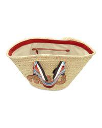 Miu Miu - Multicolor Tan Ribbon Handle Straw Bag - Lyst