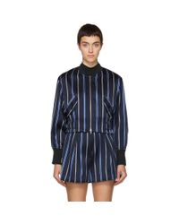 3.1 Phillip Lim - Blue Navy Striped Jacquard Bomber Jacket - Lyst