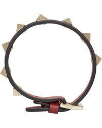 Valentino - Red Leather Rockstud Bracelet - Lyst