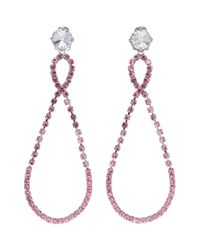 Miu Miu - Metallic Silver And Pink Large Crystal Teardrop Earrings - Lyst