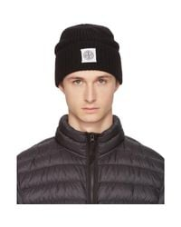 Stone Island - Black Logo Beanie for Men - Lyst