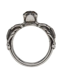 Alexander McQueen - Metallic Silver Textured Skull Ring for Men - Lyst