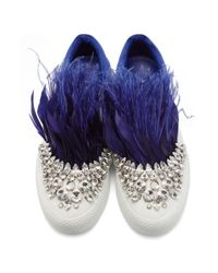 Miu Miu White And Blue Feather Crystal Slip-on Sneakers