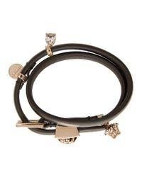 Versace - Black Leather Medusa Charm Bracelet - Lyst