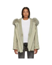 Army by Yves Salomon - Gray Grey Classic Short Fur-lined Parka - Lyst