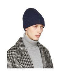 Maison Margiela - Blue Navy Rib Knit Beanie for Men - Lyst