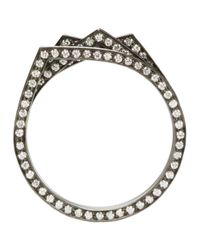 Repossi - Metallic Black Gold & Diamond Pavé Four-band Antifer Ring - Lyst