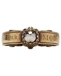 Alexander McQueen | Metallic Gold Skull Engraved Ring for Men | Lyst