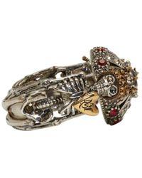 Alexander McQueen - Metallic Gunmetal & Gold Double Skeleton Ring - Lyst