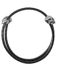 Alexander McQueen - Black Braided Double Skull Bracelet - Lyst