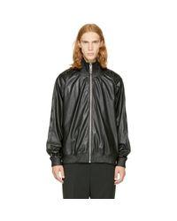 Miharayasuhiro - Black Faux-leather Track Jacket for Men - Lyst