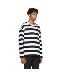 AMI - Black And White Long Sleeve Striped T-shirt for Men - Lyst