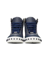 Jimmy Choo | Blue Navy Star Sole Argyle High-top Sneakers for Men | Lyst