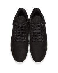 Filling Pieces - Black Suede Low Heel Cap Sneakers for Men - Lyst