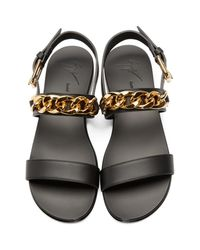 Giuseppe Zanotti - Black And Gold Chain Sandals - Lyst