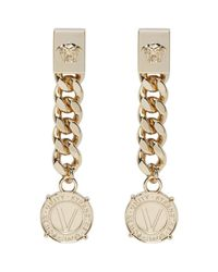 Versace - Metallic Gold Infinity Medallion Earrings - Lyst