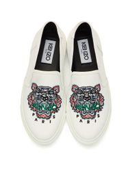 KENZO - White Tiger K-skate Slip-on Sneakers - Lyst