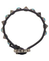 Valentino | Black & Blue Rolling Rockstud Bracelet for Men | Lyst