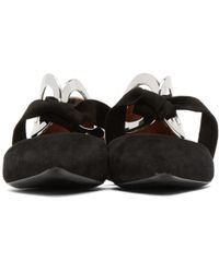 Proenza Schouler - Black Suede And Leather Grommet Dorsay Flats - Lyst