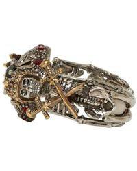 Alexander McQueen - Metallic Gunmetal & Gold Double Skeleton Ring - Lyst